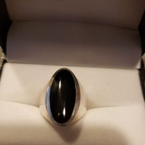 Black Onyx 925 Sterling Silver Ring  Sz 6 sizable